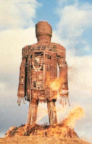 Image of the sacrificial fire from the original 70s Wicker Man film